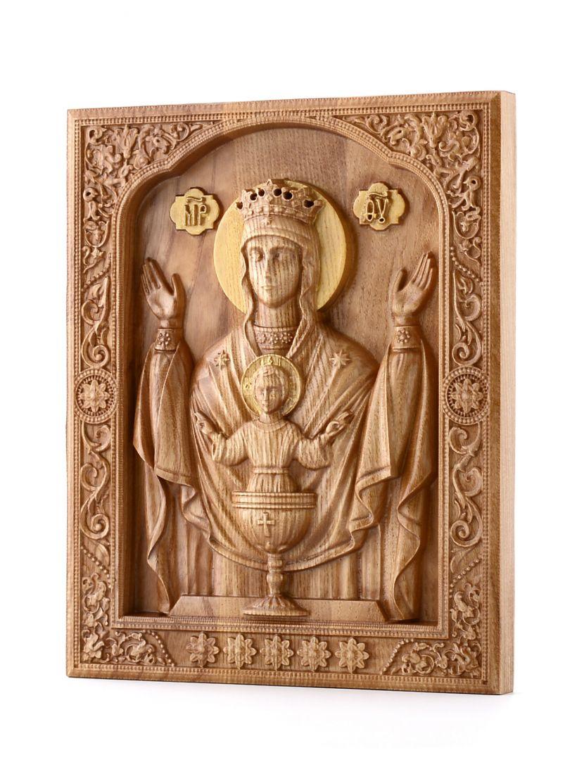 Деревянная резная икона «Божией Матери Неупиваемая чаша» бук