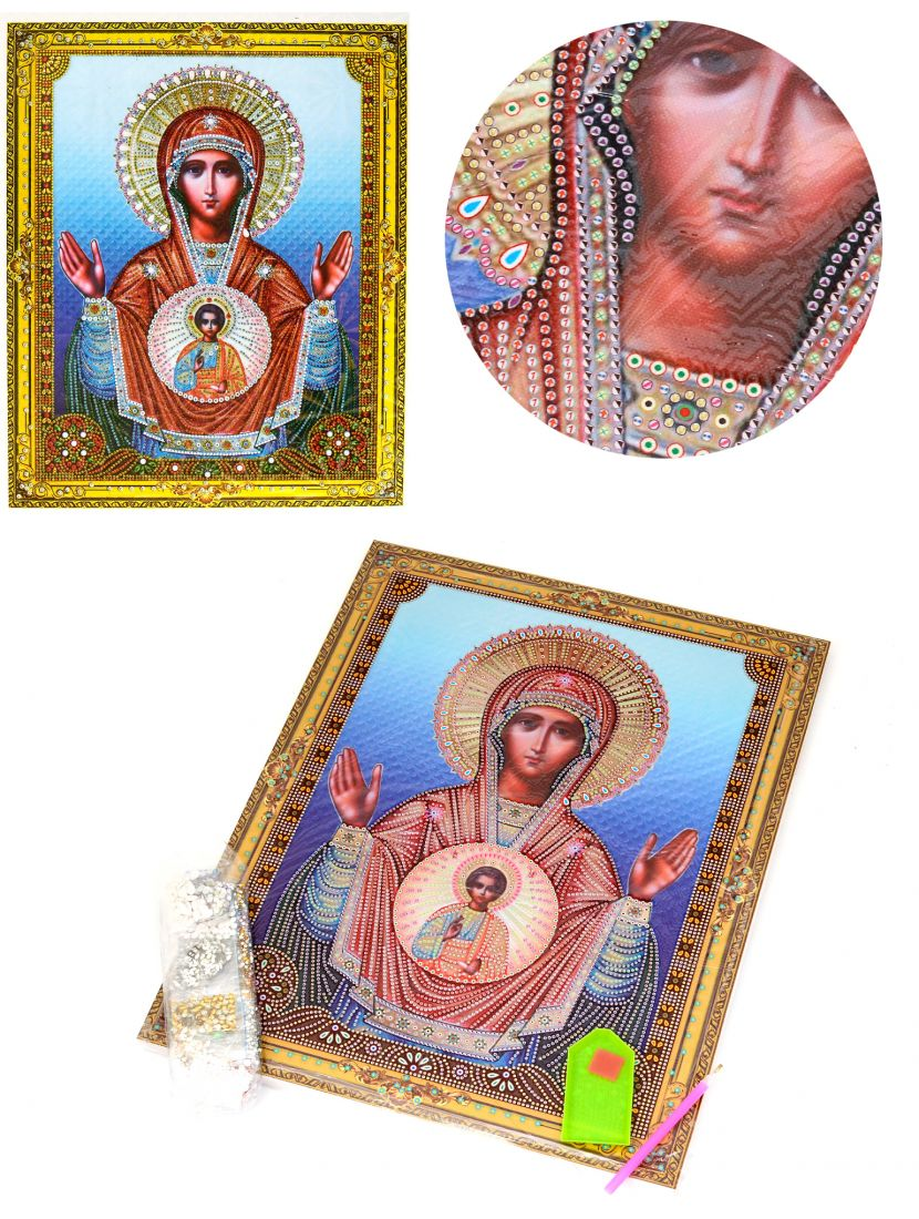 Алмазная мозаика на подрамнике «Божией Матери Знамение» икона