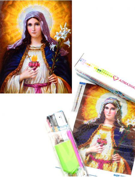 Алмазная мозаика «Непорочное Сердце Пресвятой Девы» икона