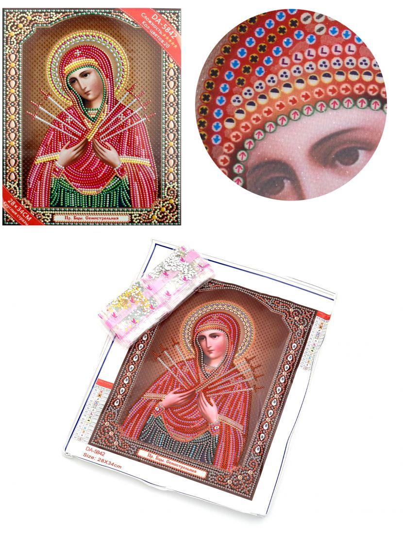 Алмазная мозаика с рамкой «Божией Матери Семистрельная» икона