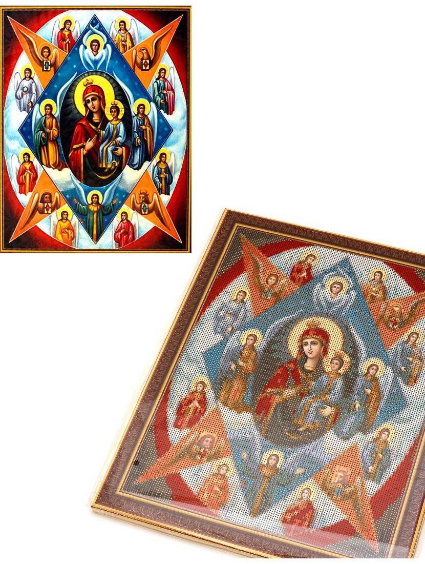 Алмазная мозаика на подрамнике «Богородица и Евангелисты» икона