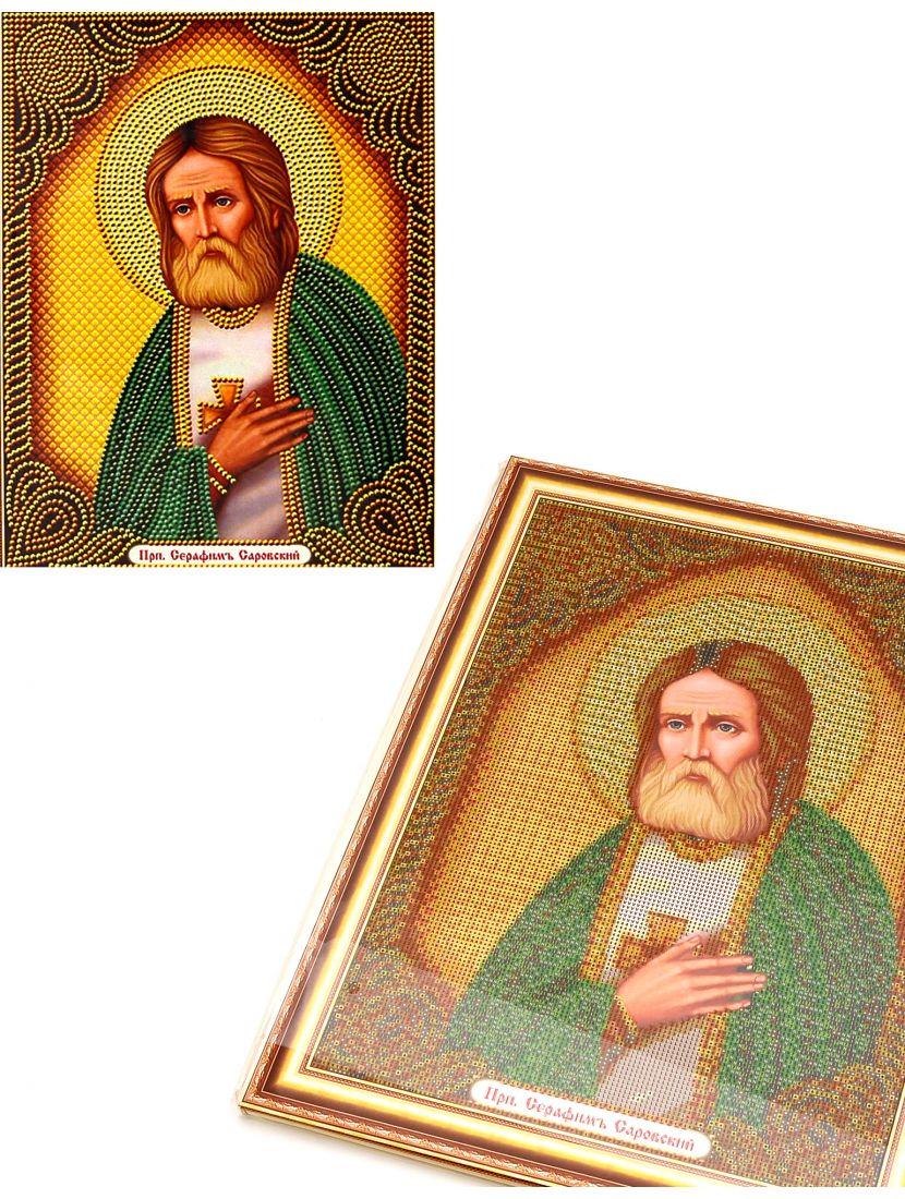 Алмазная мозаика на подрамнике «Святой Преподобный Серафим Саровский» икона