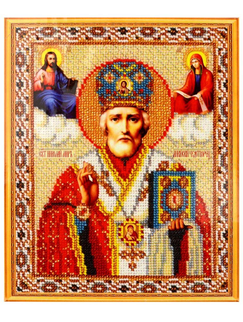 Алмазная мозаика на подрамнике «Николай Чудотворец» икона