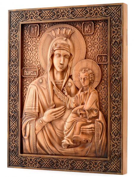 Деревянная резная икона «Иверская. Божией Матери» бук