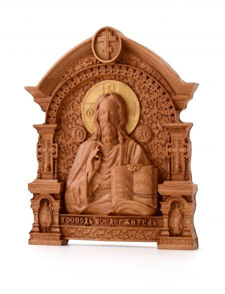 Деревянная резная икона «Господь Вседержитель» арка бук 18 x 15 см