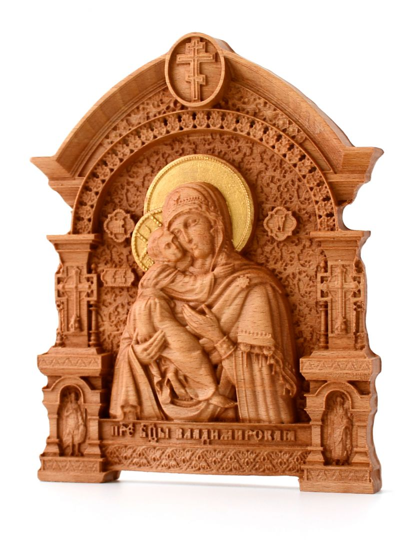 Деревянная резная икона «Божией Матери Владимирская» бук