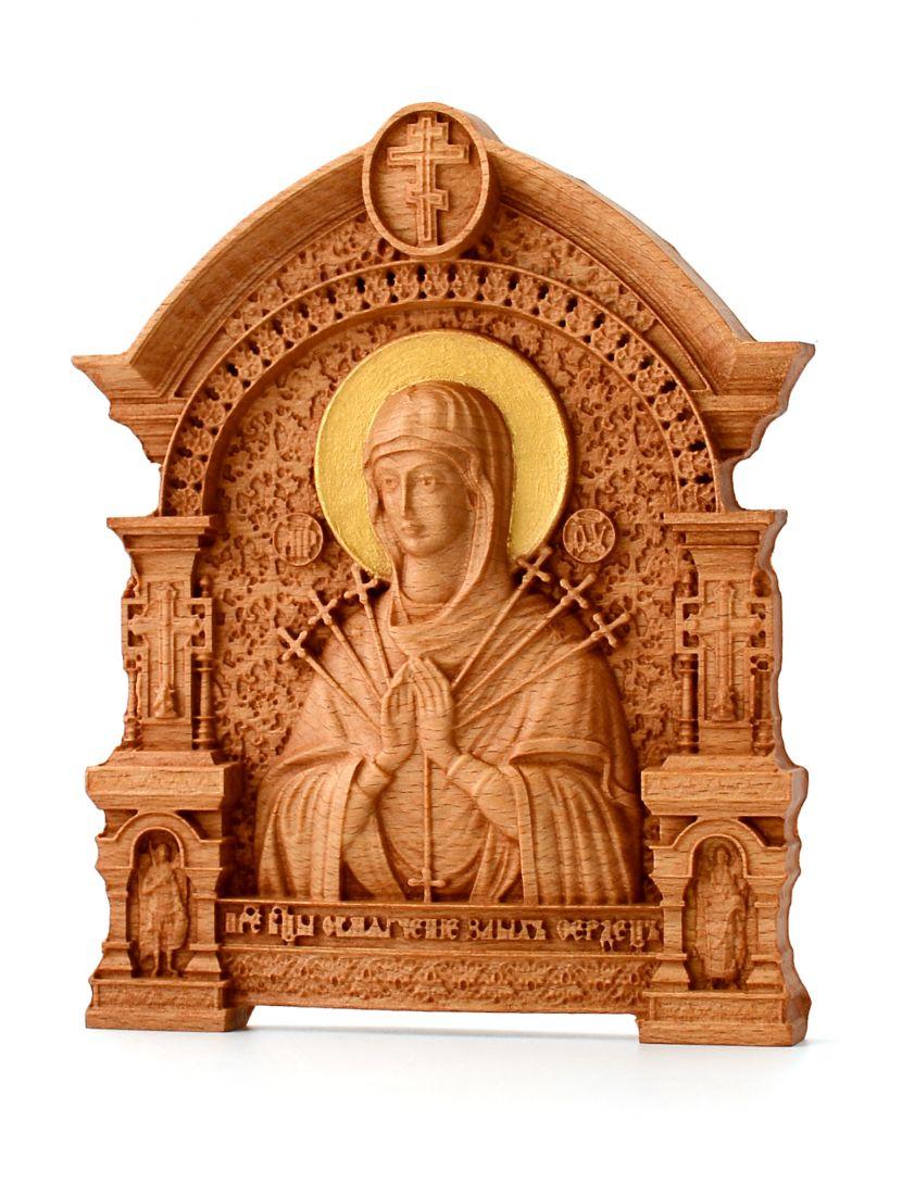 Деревянная резная икона «Божией Матери Умягчение злых сердец» с аркой бук 18 x 14 см