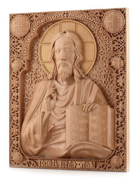 Деревянная резная икона «Господь Вседержитель» бук 57 x 45 см