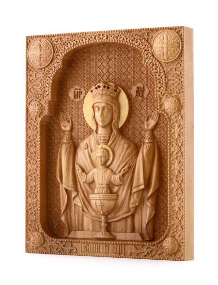 Деревянная резная икона «Божией Матери Неупиваемая чаша» бук 57 x 45 см