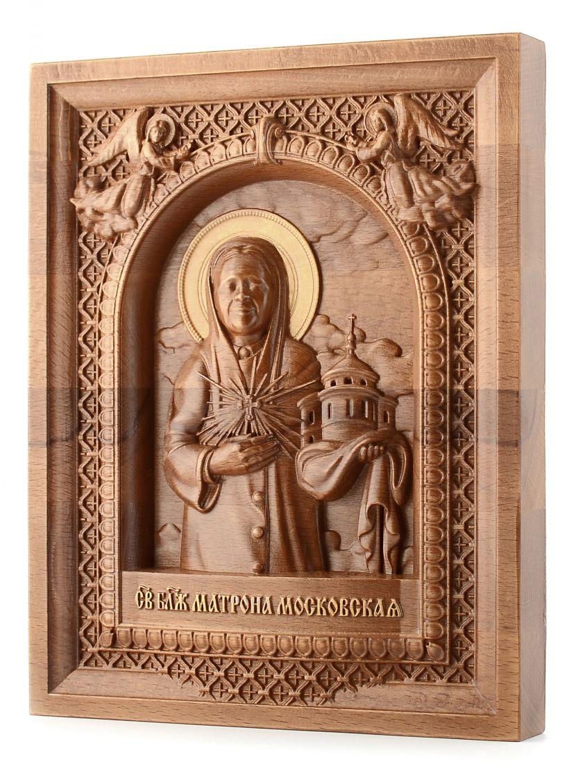 Деревянная резная икона «Святая Матрона» бук 57 x 45 см