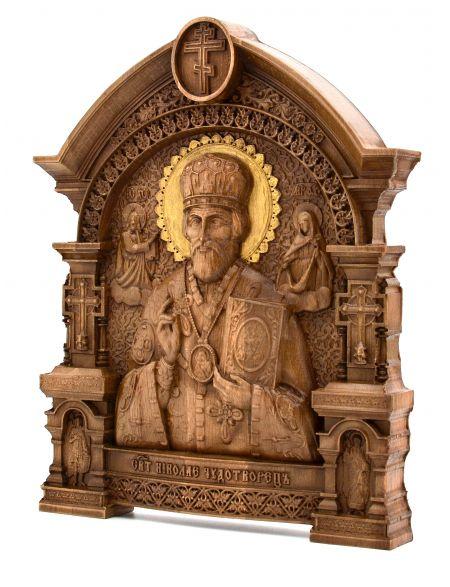 Деревянная резная икона «Святой Николай Чудотворец» с аркой 31 x 24 см