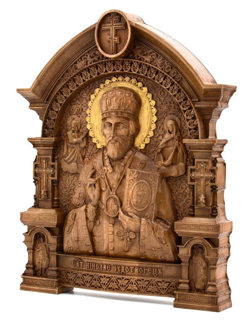 Деревянная резная икона «Святой Николай Чудотворец» с аркой бук 57 x 45 см