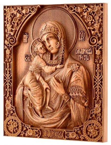 Деревянная резная икона «Феодоровская. Божией Матери» бук