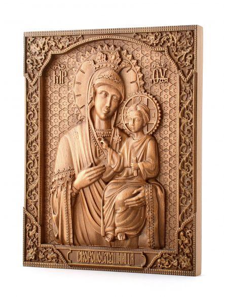 Деревянная резная икона «Божией Матери Скоропослушница» бук