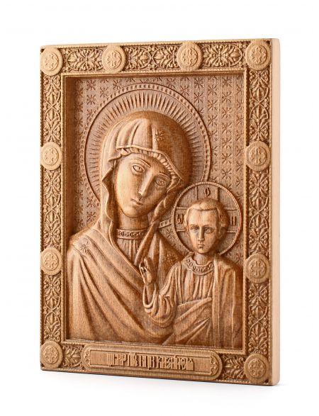 Деревянная резная икона «Казанской Божией Матери» бук