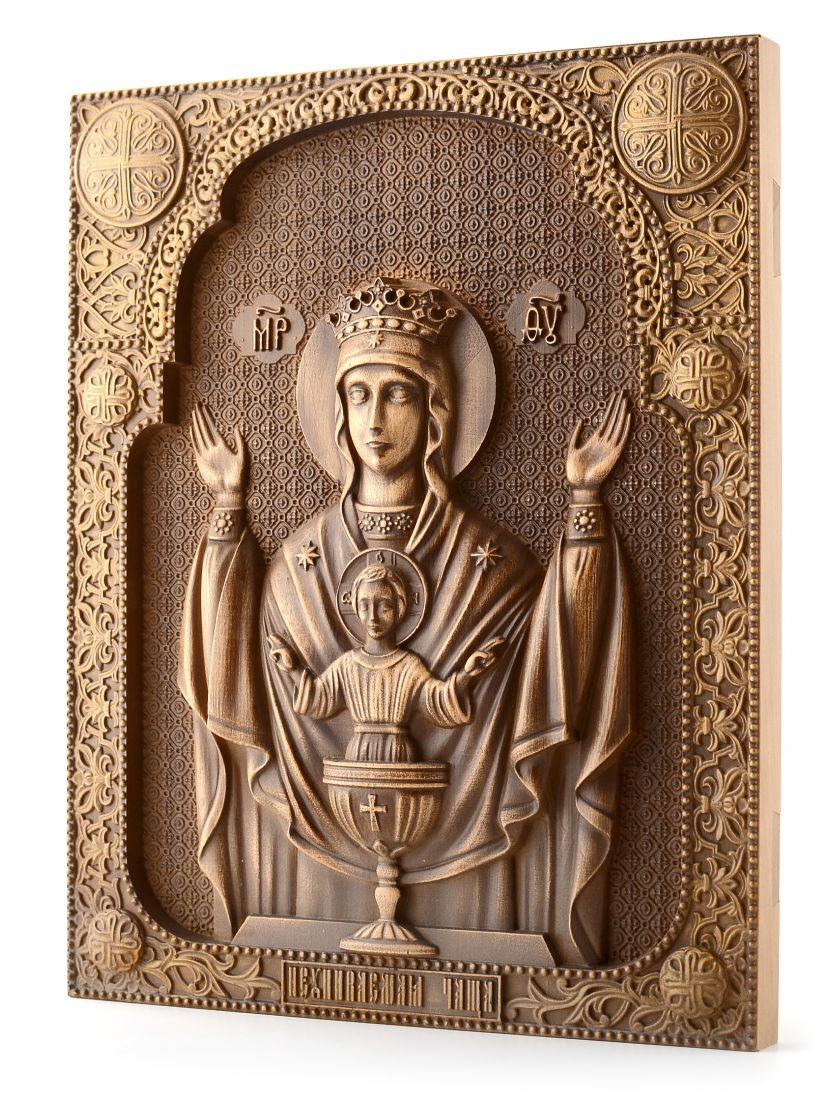 Деревянная резная икона «Неупиваемая чаша» бук