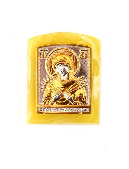 Икона «Божией матери. Семистрельная» карманная, светлый янтарь