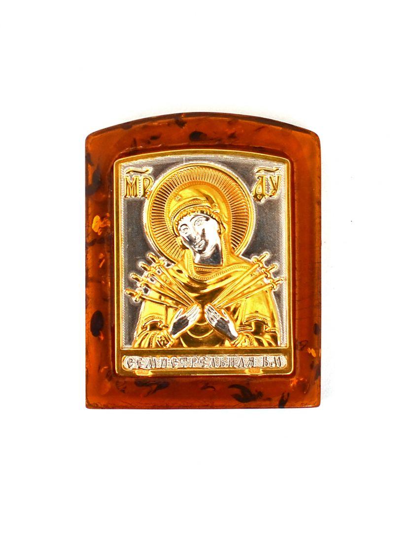 Икона «Божией матери. Семистрельная» карманная, тёмный янтарь
