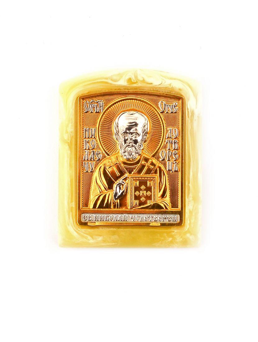 Икона «Святой Николай Чудотворец» карманная, светлый янтарь