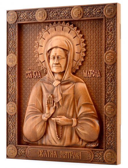 Деревянная резная икона «Святая Матрона» бук