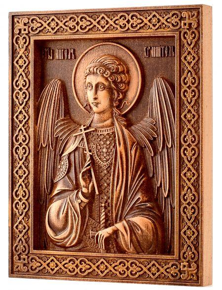 Деревянная резная икона «Ангел хранитель» бук