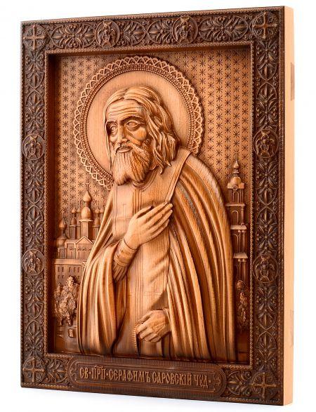 Деревянная резная икона «Серафим Саровский» бук
