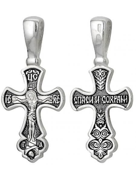 Серебряный нательный крестик  А-065