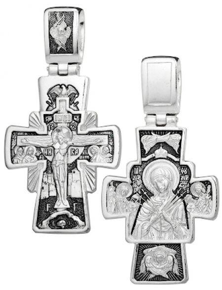 Серебряный нательный крестик «Богородица семистрельная»