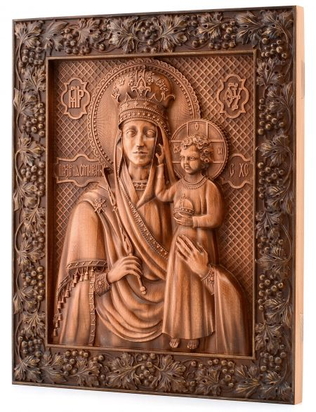 Деревянная резная икона «Божией Матери Призри на смирение» бук