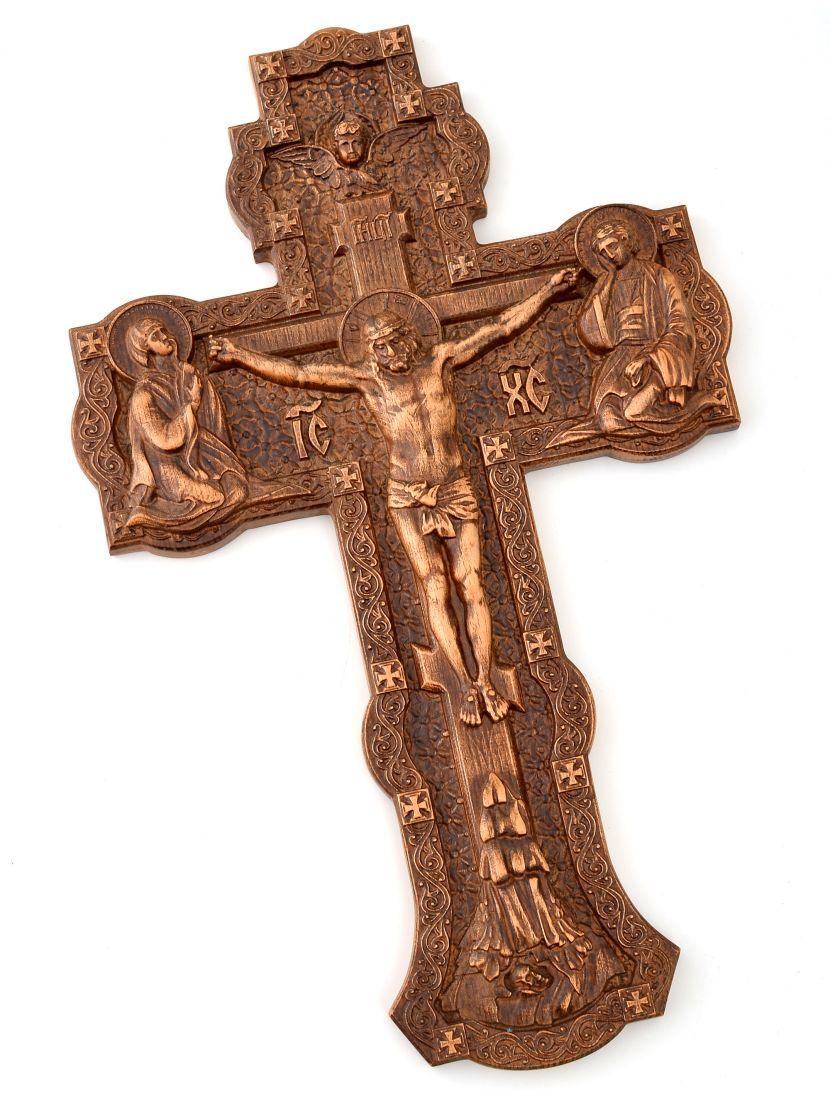 Крест резной «Распятие» из массива бука