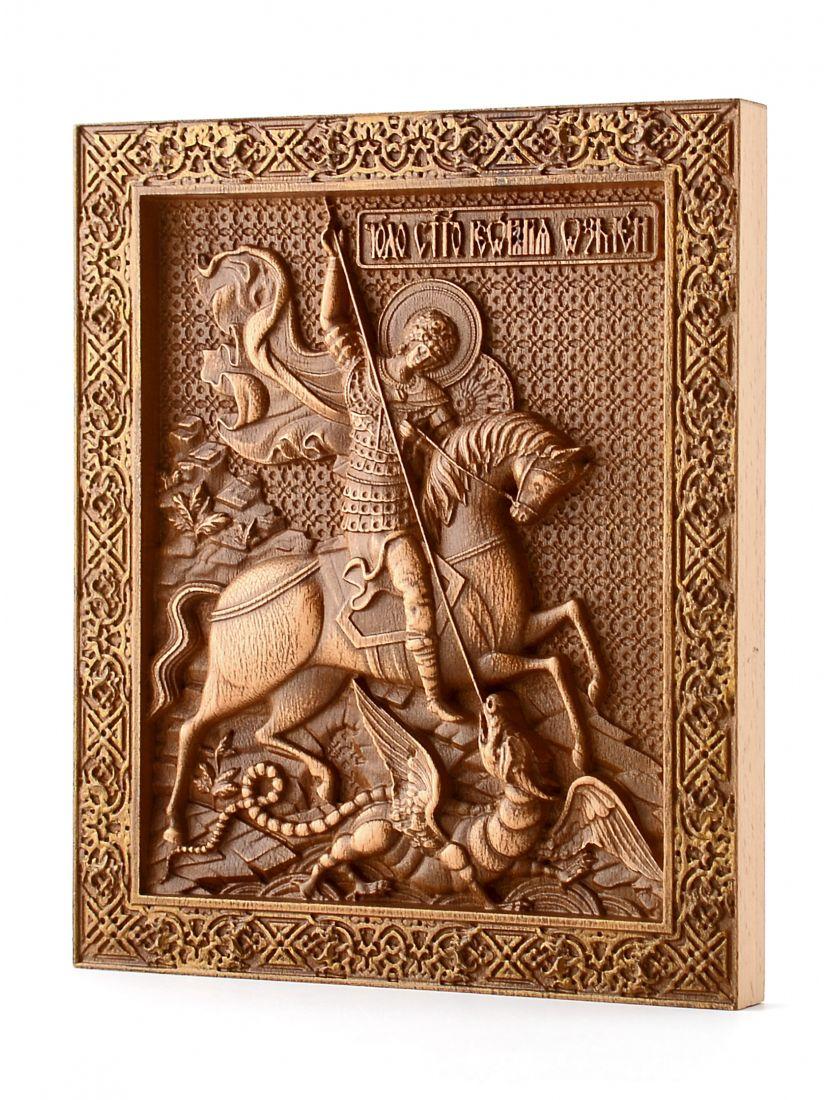 Деревянная резная икона «Святой Георгий Победоносец» бук