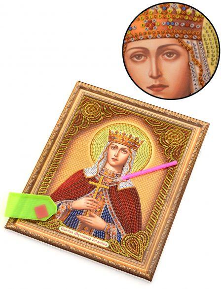 Алмазная мозаика на подрамнике «Святая мученица Людмила» икона