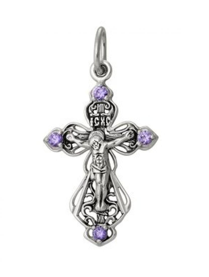 Серебряный нательный крестик с камнями